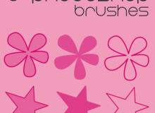 6种可爱小花朵、五角星图像PS笔刷下载