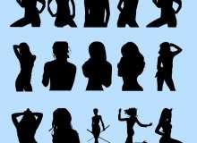 性感撩人的女性剪影图形PS轮廓笔刷