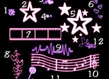 荧光手绘五角星、魔方、爱心、星星、胶卷、五线乐谱、心跳图等PS笔刷下载