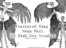 鸟人翅膀、飞鸟翅膀、天使羽翼PS翅膀笔刷素材