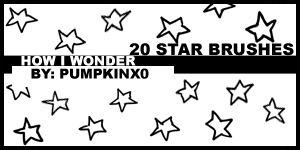 手绘可爱的五角星图案、星星背景图案PS童趣笔刷素材