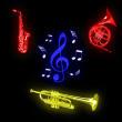 小号、萨克斯、圆号、音符等乐器PS音乐元素笔刷