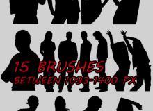 15种男士、女性社交剪影图形PS笔刷下载