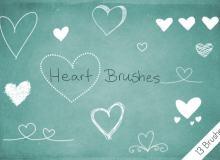 爱心印记、手绘心形图案PS笔刷素材