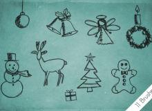 11种圣诞节可爱童趣涂鸦PS装饰图形美图笔刷