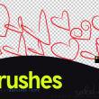 手绘涂鸦爱心图案PS笔刷素材下载