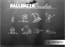 手绘万圣节坟墓、骷髅头、巫师帽子、幽灵等卡通装扮PS美图笔刷