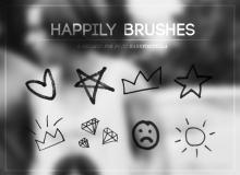 可爱爱心、五角星、皇冠、钻石、太阳等PS美图笔刷