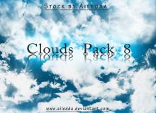 8种天空云朵纹理效果PS笔刷素材