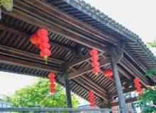 免费商用版权!中式回廊、中国传统灯笼照片背景PS素材