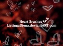 涂鸦爱心艺术、手绘心形图案PS情人节笔刷