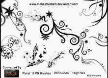 优雅艺术花纹图案、漩涡式植物印花PS笔刷素材