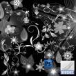 漂亮的鲜花花纹图案、植物印花背景PS笔刷素材