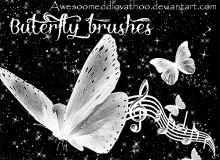 蝴蝶音乐装饰、梦幻蝴蝶星光PS笔刷素材