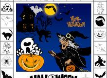 万圣节南瓜、女巫、巫婆、蝙蝠、黑猫、幽灵等元素PS笔刷下载(csh格式,自定义形状)
