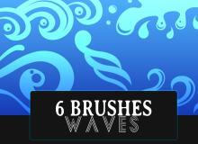 6种水浪式花纹图案Photoshop笔刷素材下载