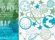 27种卡通星球、星星图案PS照片美化笔刷