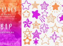 24种手绘涂鸦五角星、闪光星星图案PS笔刷素材