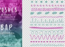 30种可爱手绘涂鸦分割线、分隔符图案PS笔刷下载