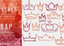 17种可爱的手绘卡通皇冠、王冠图案PS笔刷素材