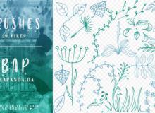 20种手绘植物花花草草印花图案PS笔刷素材免费下载