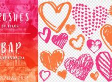 20种童趣恋爱爱心、心形图案PS美图笔刷