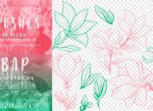 10种手绘百合花纹图案PS笔刷素材
