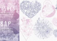 9种鲜花花朵装饰图案PS笔刷素材