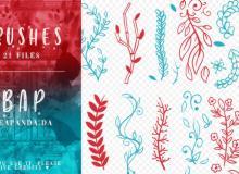 21种手绘小清新叶子、竹子、小花朵印花图案PS笔刷素材
