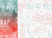 中国新年喜气图案、灯笼、摇钱树、元宝、鞭炮等PS笔刷素材
