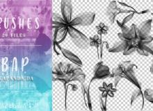 虚幻光影花朵、鲜花图案PS光影特效笔刷