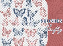 18种飞舞的蝴蝶、彩蝶翩翩、蝴蝶剪影图案PS笔刷素材