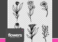 童趣手绘鲜花花朵图案PS笔刷素材