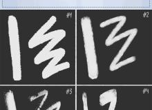 4种笔触效果纹理、粉笔纹理、喷漆纹理PS笔刷素材