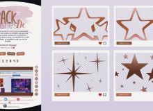 4种闪亮五角星图案、星星符号装饰PS笔刷素材免费下载