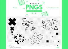 可爱气泡式十字图案、正方形符号、三角形背景装饰PS笔刷素材(PNG图片格式)