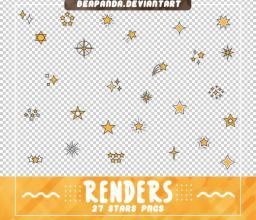 各种卡通星星符号图案Photoshop笔刷素材(PNG图片格式)
