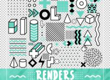 小清新几何元素正方形、圆柱体、三角形PS美图笔刷(PNG图片格式)