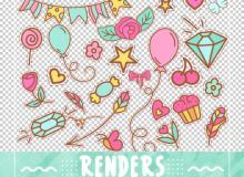 七彩卡通气球、横幅、五角星、糖果、花朵、爱心、纸杯蛋糕等可爱元素PS笔刷素材(PNG图片格式)