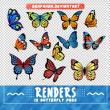 12种卡通七彩蝴蝶图案PS笔刷素材(PNG图片背景透明格式)