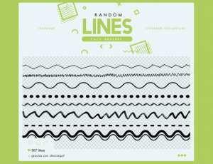手绘涂鸦线条、分割线图案、分隔线PS笔刷素材