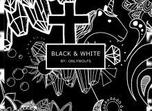 170种黑白卡通童趣贴纸图形PS笔刷素材(PNG透明格式素材)