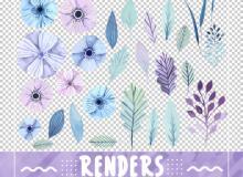 漂亮手绘水彩风格花朵、鲜花、叶子PS笔刷素材(png图片格式)
