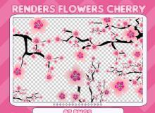 漂亮桃花枝条图案PS素材笔刷(PNG格式)