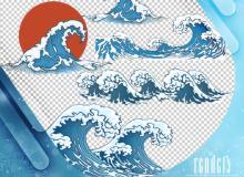 卡通海浪、浪涌效果PS笔刷素材(PNG格式)