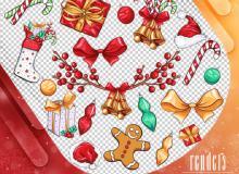 13种圣诞节节日装饰卡通贴纸PS美图笔刷(PNG格式)