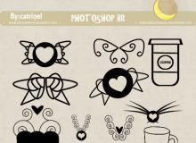 爱心翅膀图案、心形挂饰PS笔刷素材