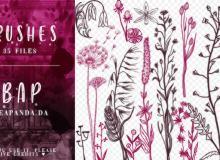 35种手绘植物野草印花图案PS笔刷素材免费下载