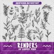 手绘植物叶子线框图案PS笔刷下载(PNG图片格式)