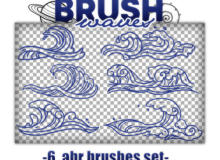6种手绘海浪花纹、浪涌、浪潮、浪头Photoshop笔刷素材